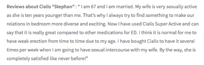 67-year-old Stephan described himself as a married man with a very sexually active wife ten years younger than him