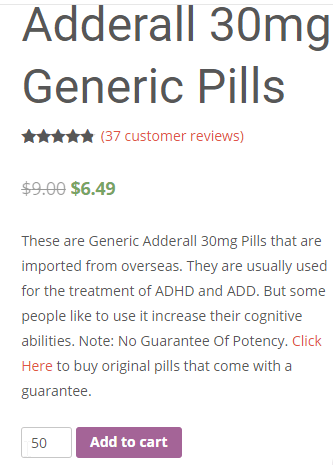 Generic Adderall Price