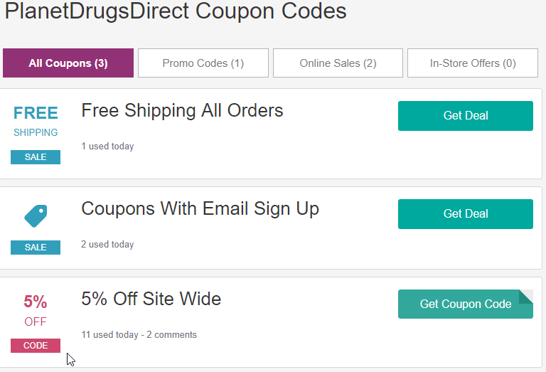 Planet Drugs Direct Coupon Codes