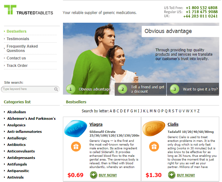 Trusted Tablets Pharmacy Homepage