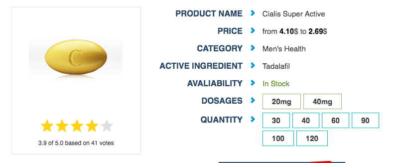 The price range given in this excerpt, which presumably reflects the pricing for both 20 milligrams and 40 milligrams Cialis Super Active, shows that the highest price per pill for this medication (both dosage strengths inclusive) is 4