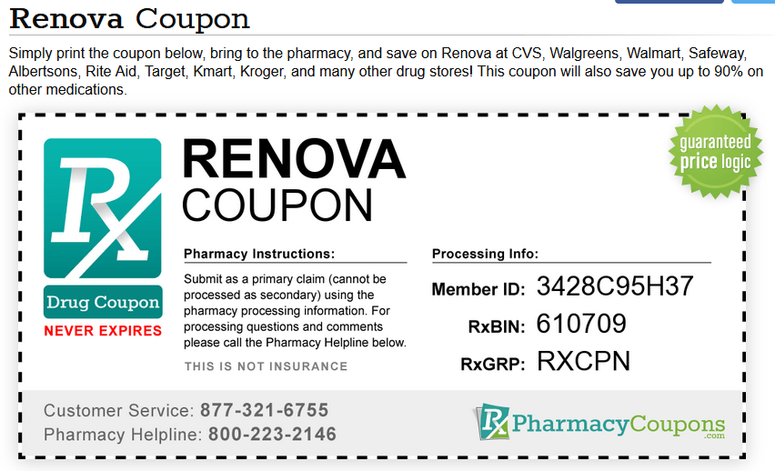 Rx Pharmacy Coupons Discount for Renova