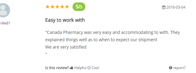 Canada Pharmacy User Comment (Source: https://www