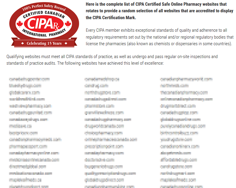 CIPA Rxs List of Legitimate Canadian Drugstores