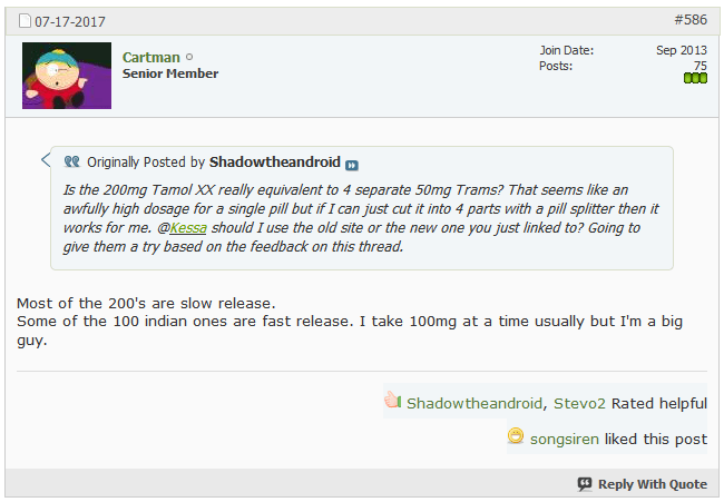 Cartman replied to one comment from Shadowtheandroid, who asked about the 200 mg Tramadol product