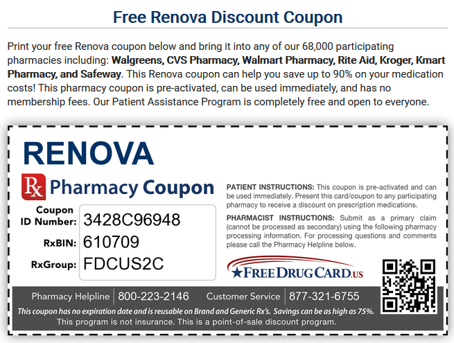 Free Drug Card Renova Coupon